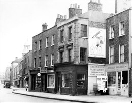 Photo:View of 48-54 Bell Street looking towards Lisson Grove 1958. In the background is Christ Church, Cosway Street