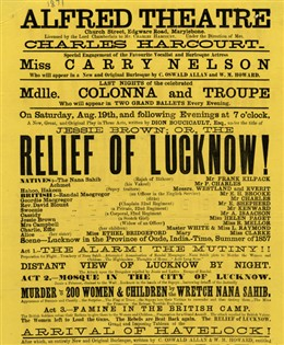 Photo:Playbill for Alfred Theatre, Church Street Saturday 19 August 1871