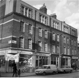 Photo:View of shop fronts at 67-75 Bell Street and the junction with Lisson Grove 1972