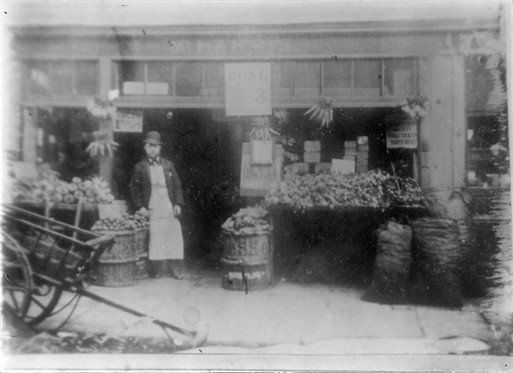 Photo:View of a greengrocer's shop in Carlisle Street, now Penfold Street c.1889