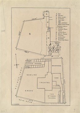 Photo:Copy of a plan of the Yorkshire Stingo tavern and bowling green taken from an 1847 conveyance